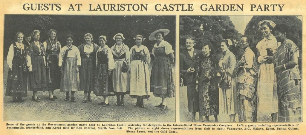 """Newspaper cutting titled """"Guests at Lauriston Castle Garden Party"""" with two photographs showing the delegates in their national dress"""