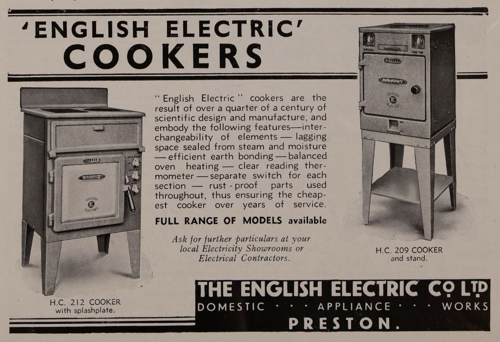 Black and white advert with sketches of 2 electric cookers and text for 'English Electric Cookers'