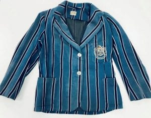 Striped 'Dough School' blazer, donated to GCU Archive Centre