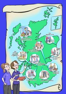 Cartoon illustration of Kirsty and Gill beside a map of Scotland showing location of some social enterprises