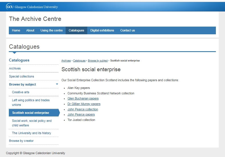 Screenshot of the webpage showing the list of social enterprise collections