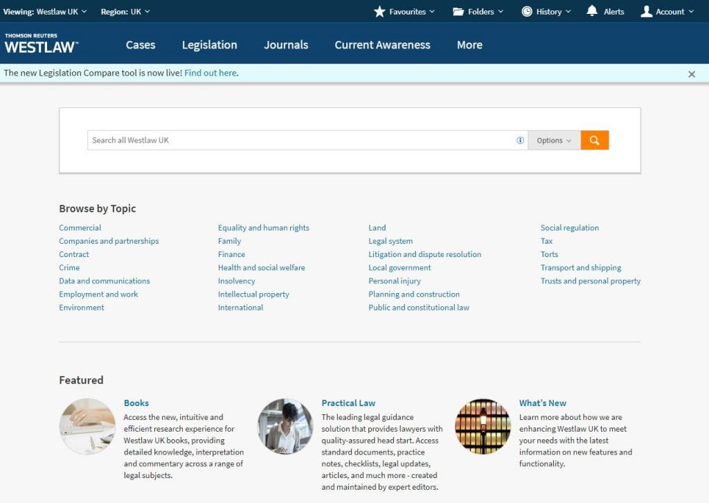 Screenshot of new Westlaw platform