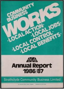 Image of front cover of CBS Annual Report 1986/87 with strapline 'Community Business works'
