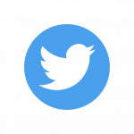 Twitter logo of white bird on blue background