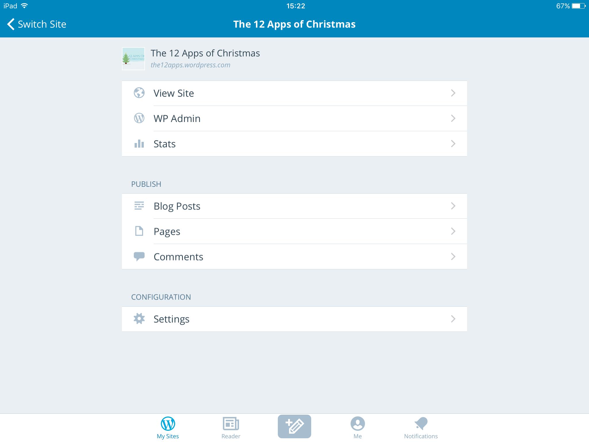 WP app menu