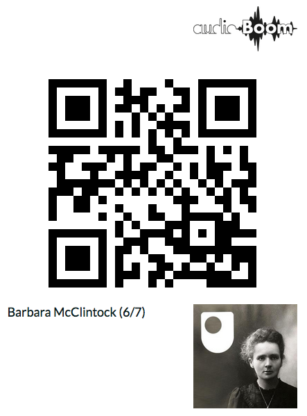 A QR code which links to the Open University's programme about geneticist Barbara McClintock