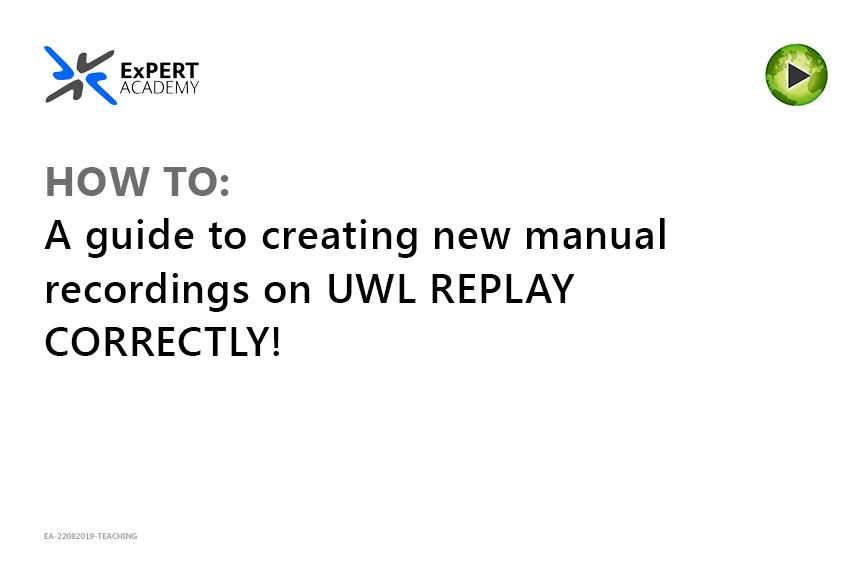 How to initiate manual recordings