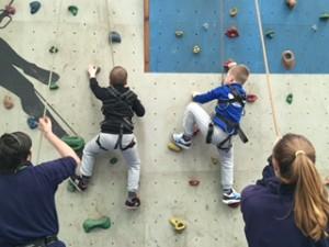 2 boys climbing