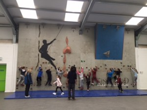 all on climbing wall