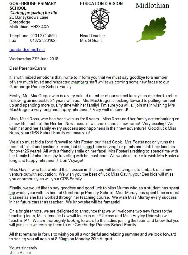 Letter Home Whole School Gorebridge Primary School Page 3