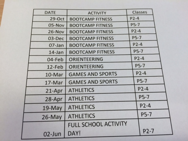 Outdoor PE Timetable