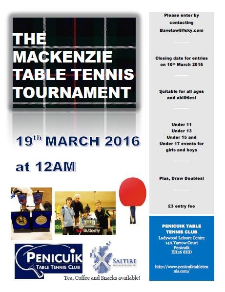 Mackenzie Table Tennis Competition