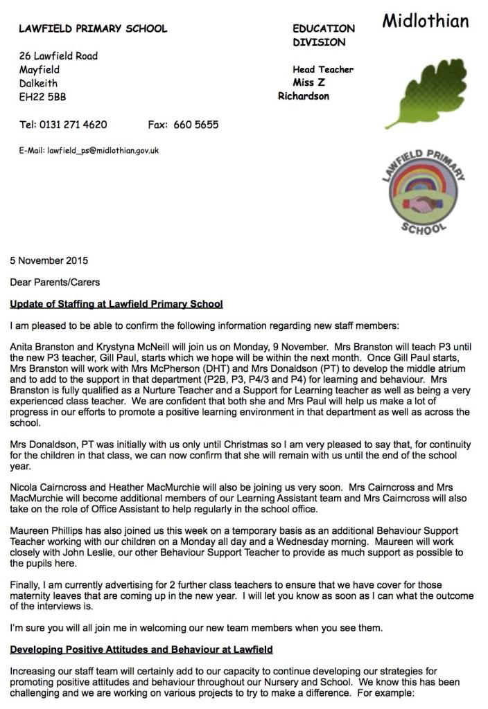 parent letter 5 november 2015