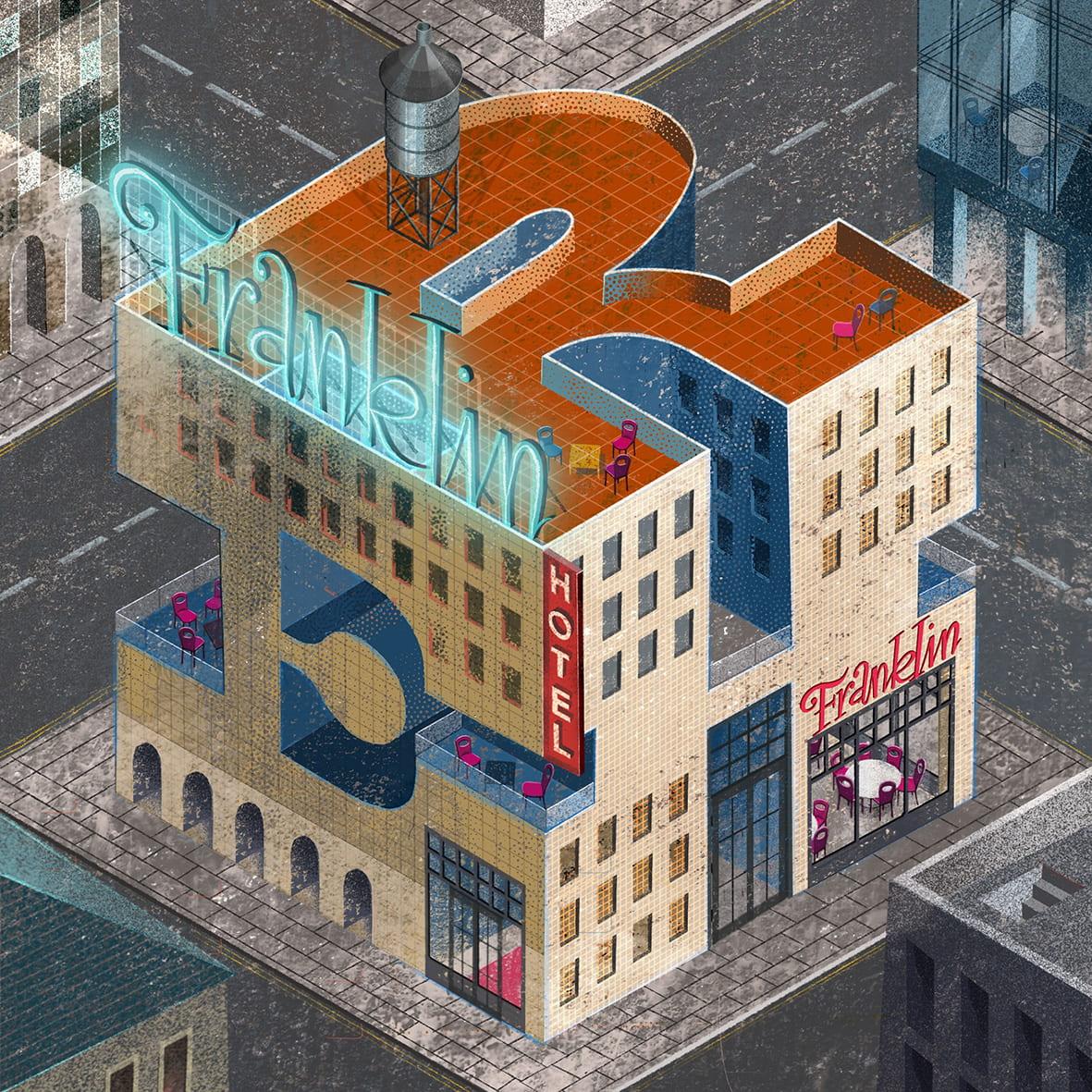 2. Franklin Hotel: Slab Serif City project, personal work