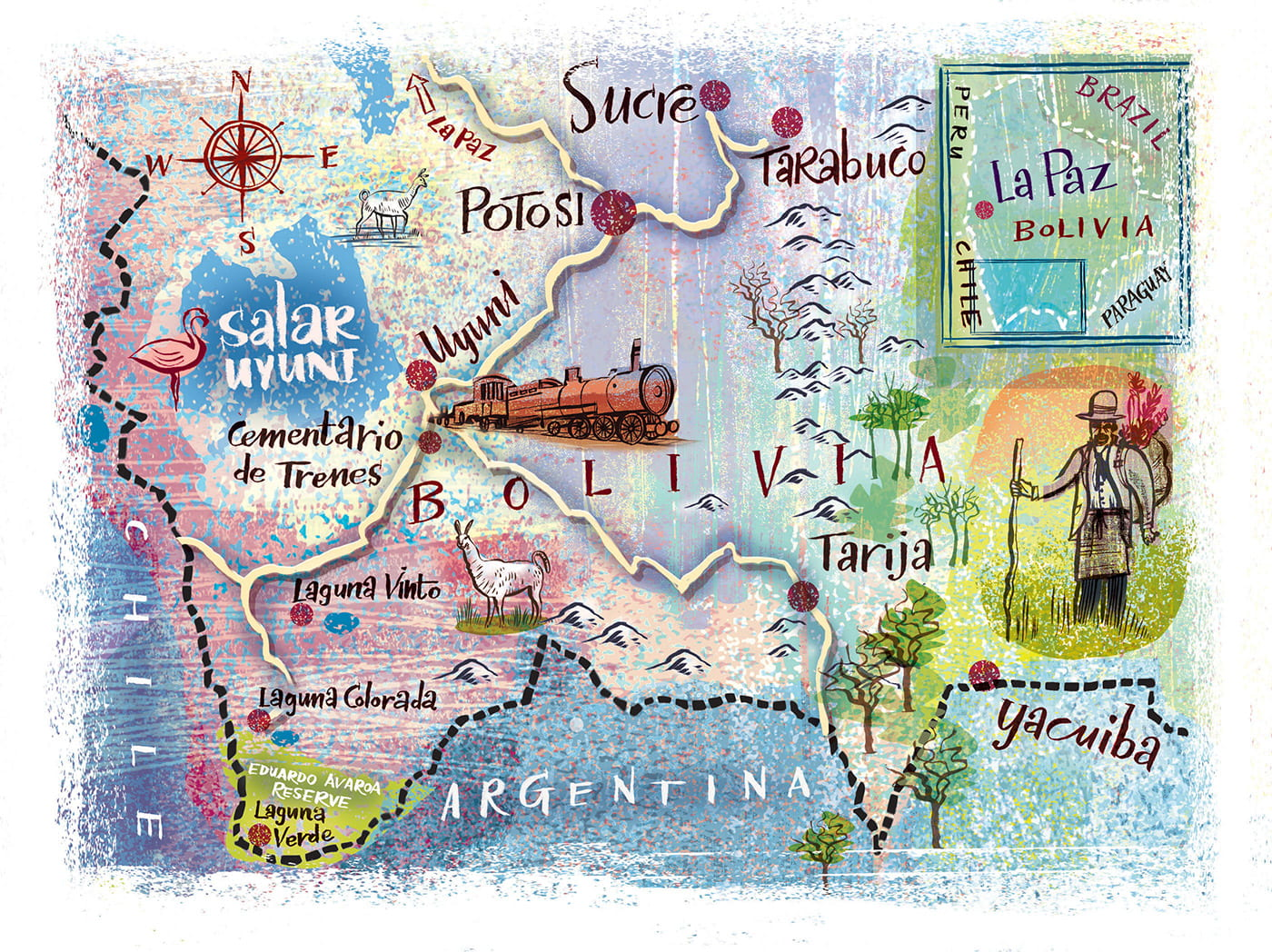 5. National Geographic: Illustrated map of Bolivia