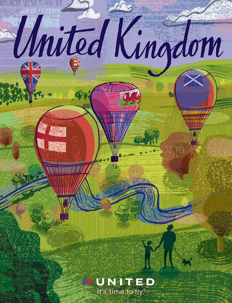 7. United Airlines: Poster advertising the United Kingdom displayed at International airports