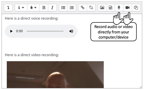 Moodle editor showing location of buttons for recording audio and video