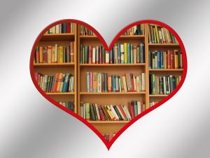 A heart shaped bookcase
