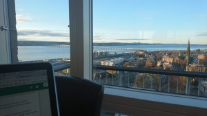 The view from the Tower cafe - over the Tay, including the rail bridge.