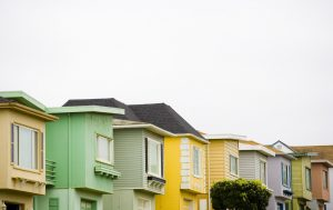 Pastel coloured houses.
