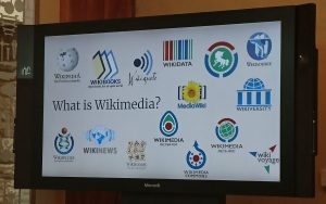 Slide showing all the parts of the (large!) wikimedia family. It's not just Wikipedia