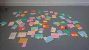 Short blogs on paper, scattered on the floor