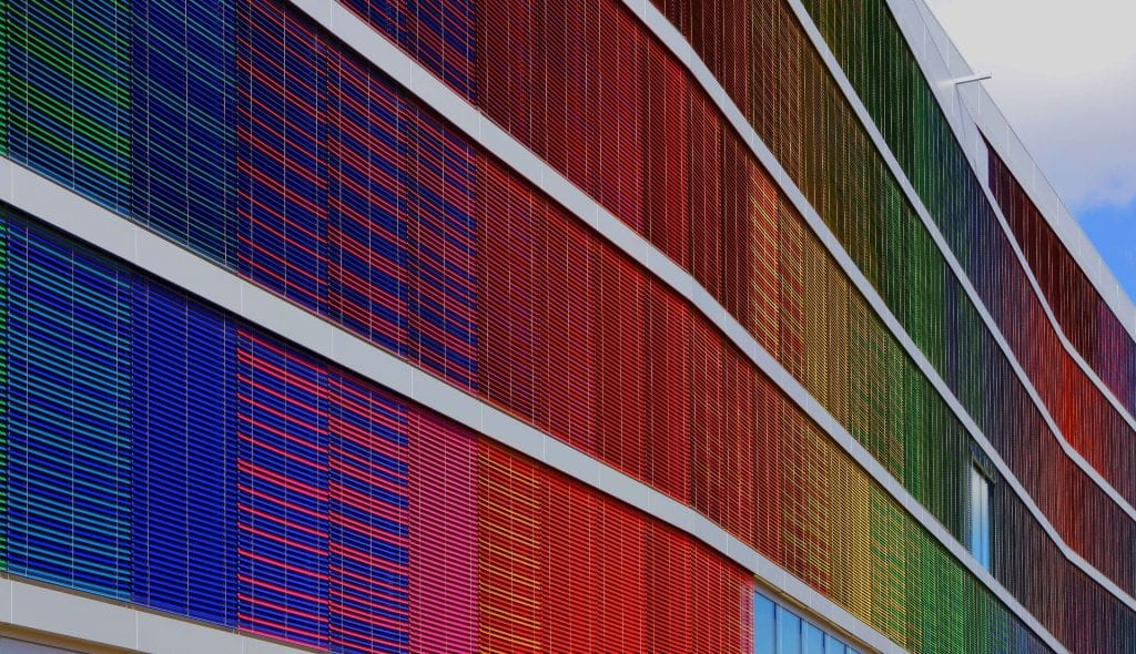 Multi coloured glass window