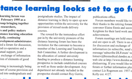 'Distance learning looks set to go far' (1998)
