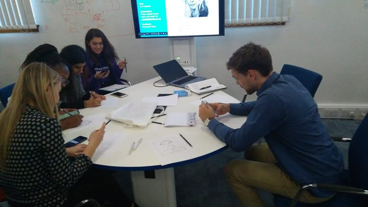 Students working in a group