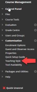 Course Management > Customisation > Teaching Style