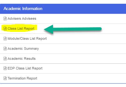 Class List report highlighted