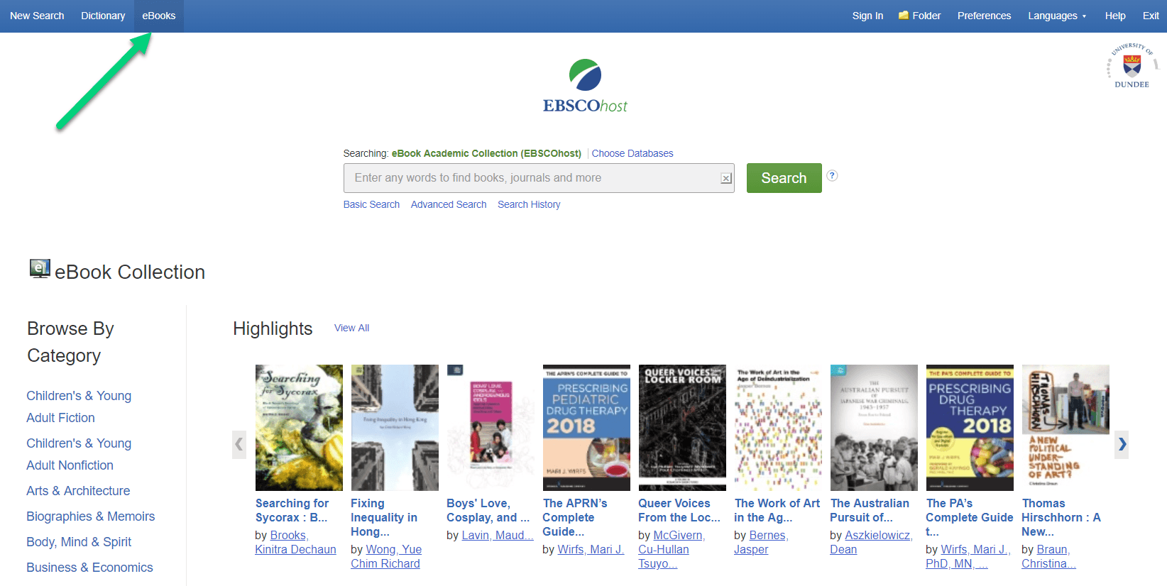 EBSCOhost eBook collection pointing to the eBooks tab