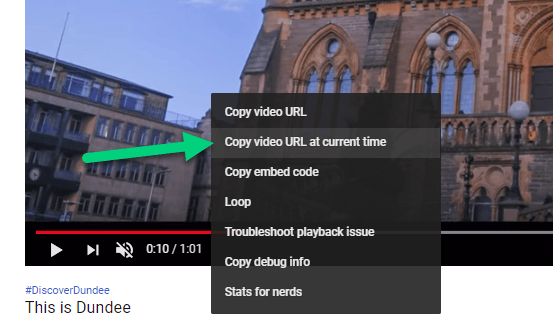 Youtube video pointing to the copy video URL at current time option in the right click menu