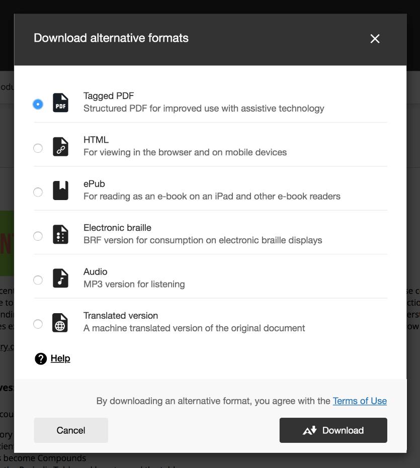 Windows showing list of alternative formats