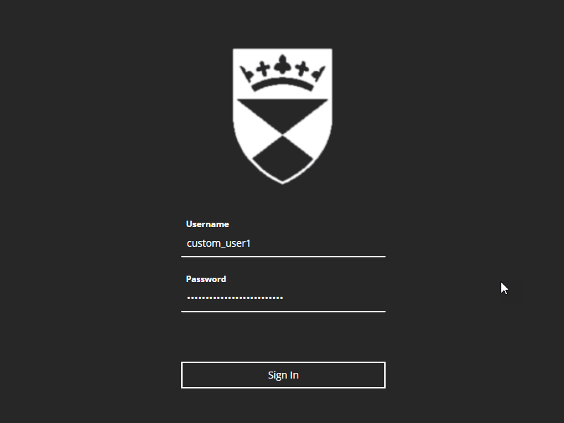 The custom login page for My Dundee
