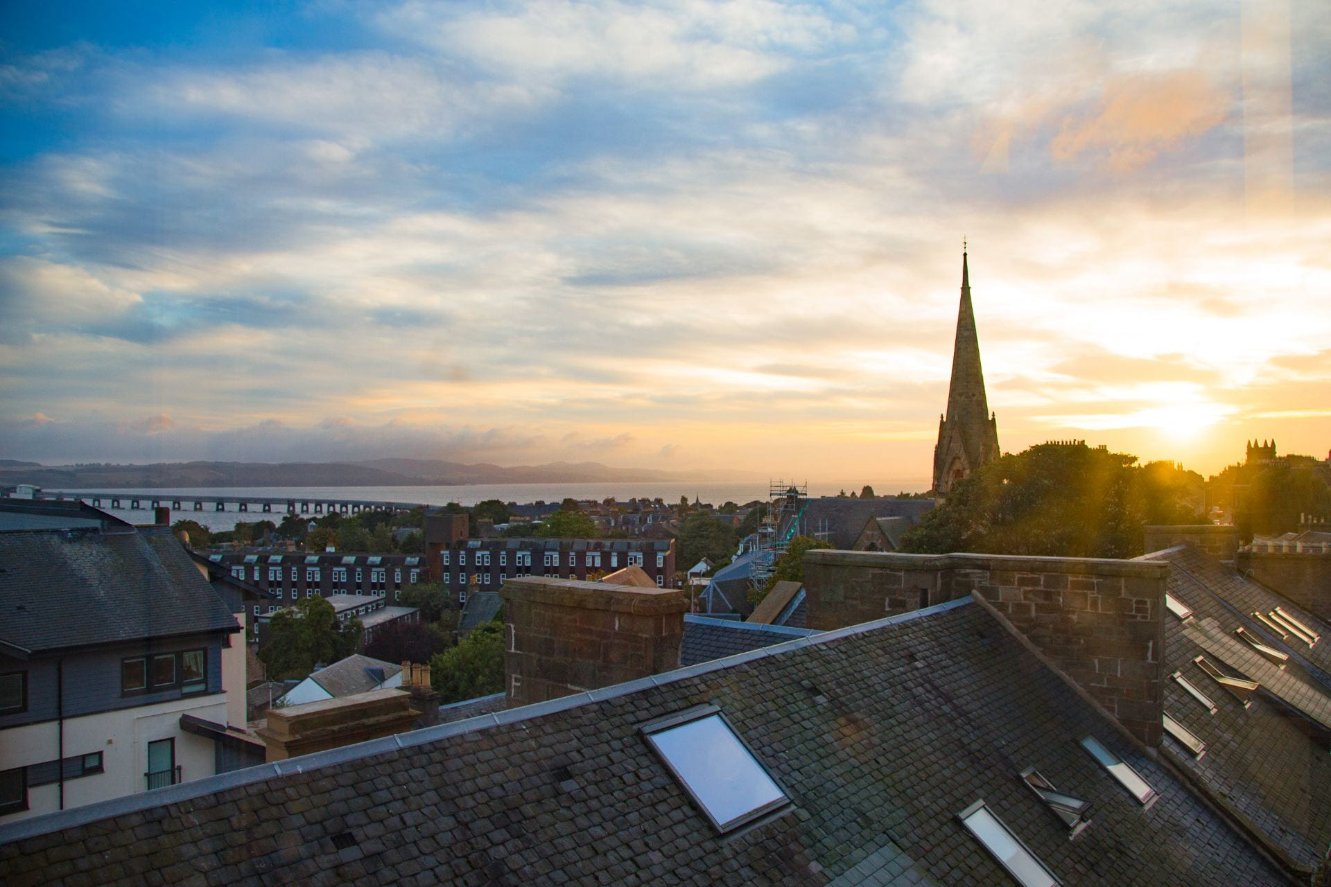 Sunset over Dundee rooftops