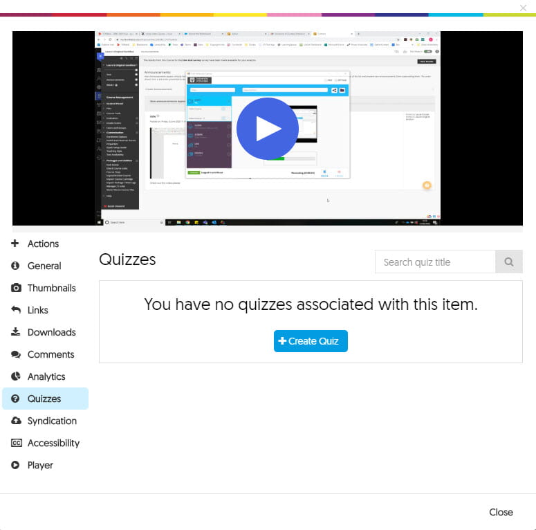 Screenshot of the menu for a YuJa video in the 'Quizzes' tab.
