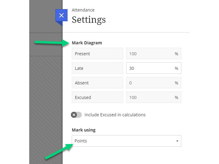 Screenshot of the Attendance settings with arrows pointed to areas for Mark Diagram, Mark Using, and Save