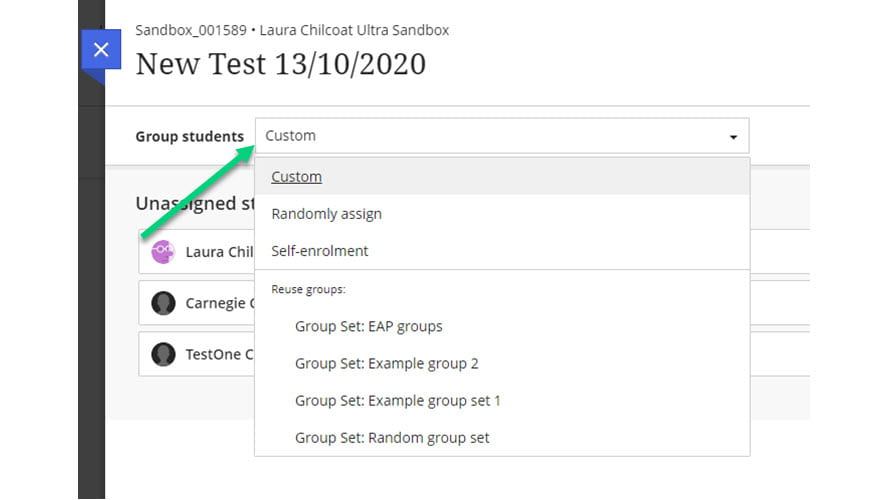 Screenshot of Groups page from Assignment with an arrow pointing to the drop-down menu to select a group set.