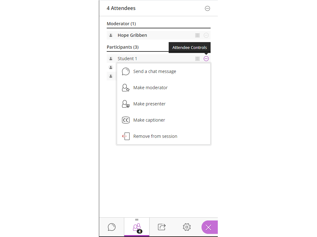 Image of attendee controls