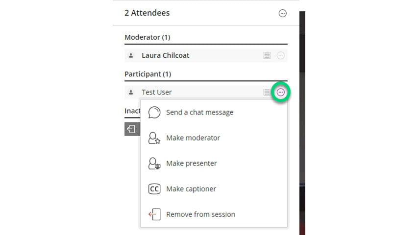 Screenshot of attendees panel with the three dots highlighted and the menu appearing