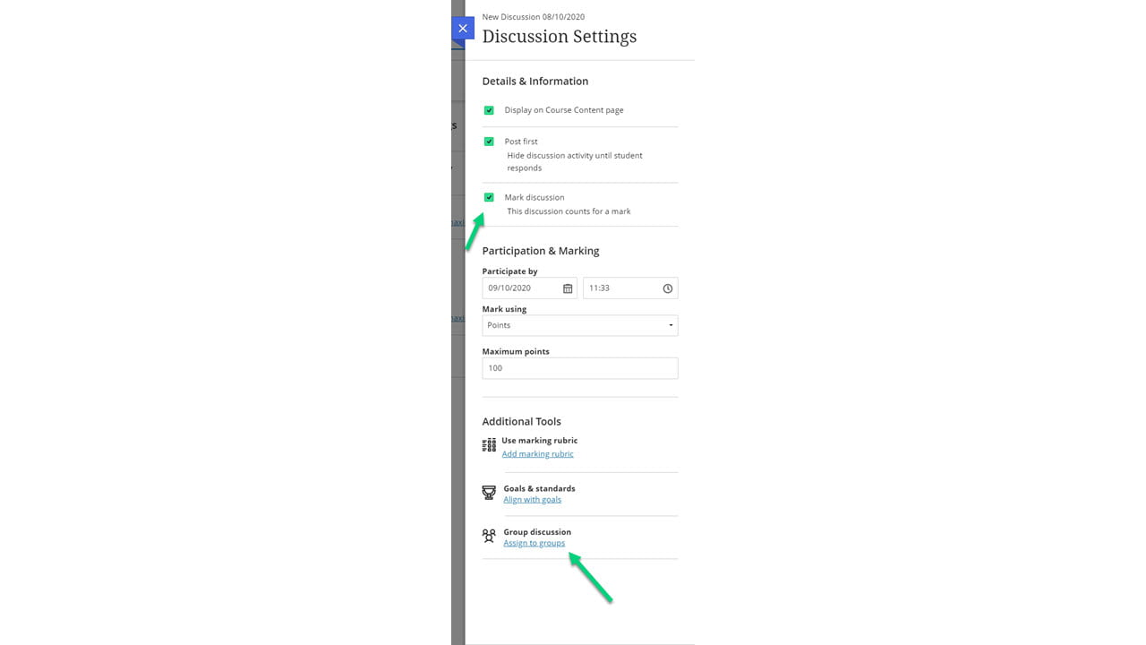 Screenshot of discussion settings with arrows pointed to mark discussion and assign to groups.