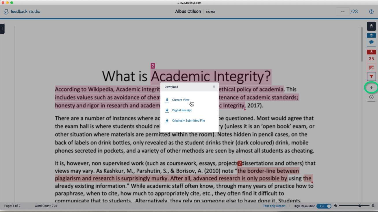 Downloading similarity report