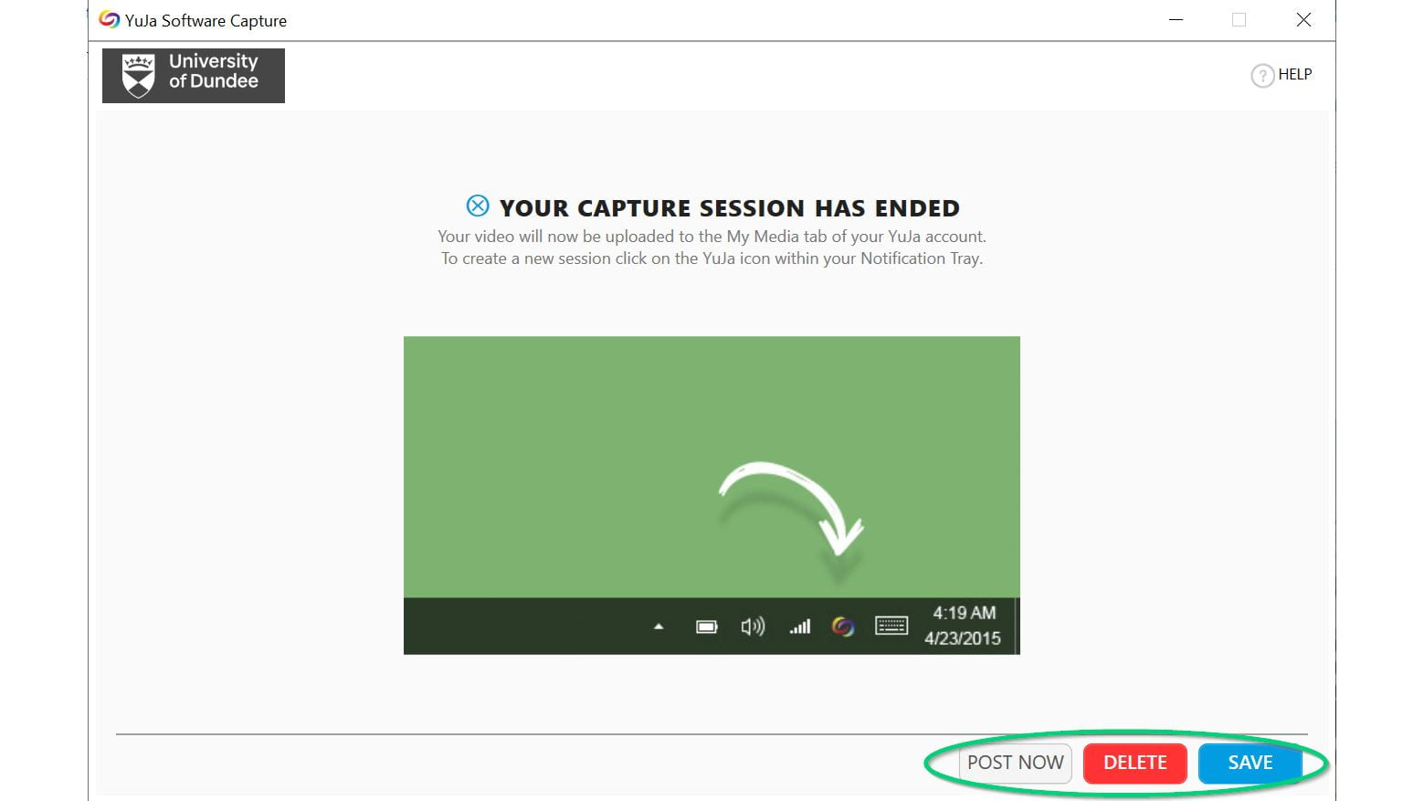 Image of capture session has ended