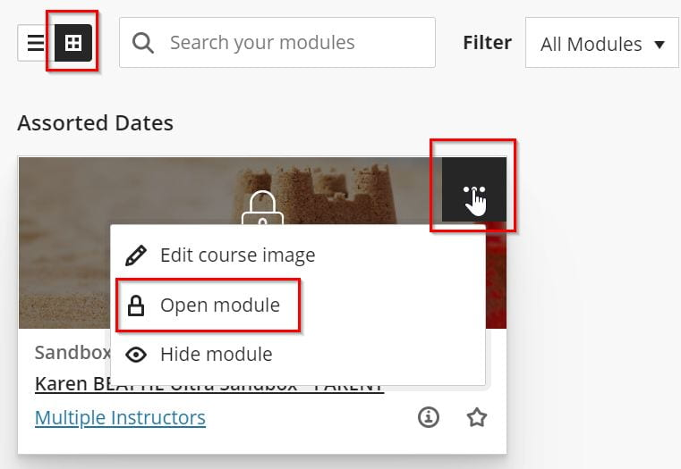 Screenshot of the Modules page in Grid View showing where to click to set the availability of the module.