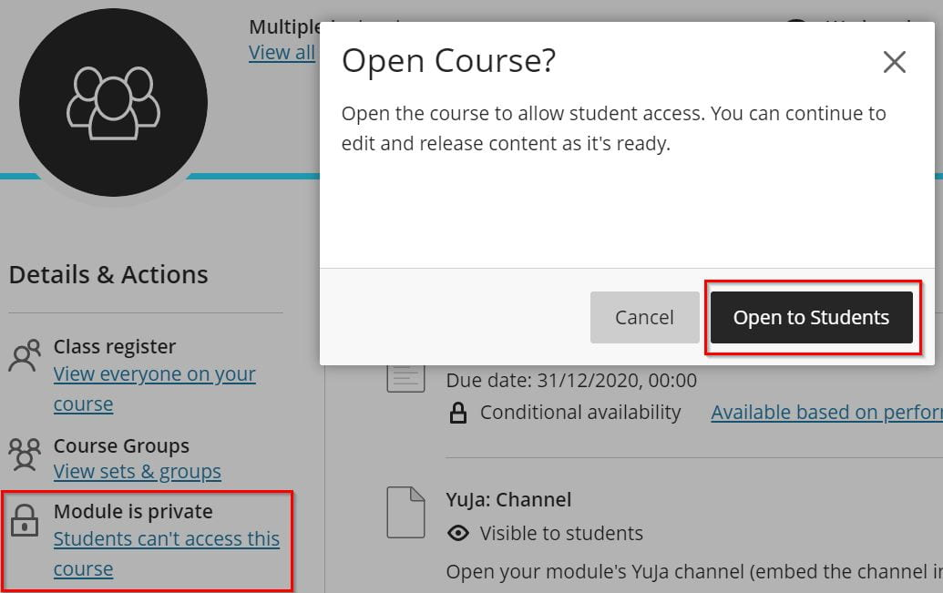 Screenshot of a module showing where to click to set the availability of the module.