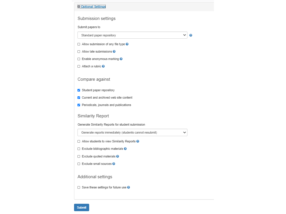 Image of optional settings in create TII assignment