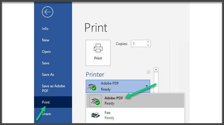 Screenshot of the file panel in Word with the Print area open. Adobe PDF is selected as the printer with an arrow pointing to this.