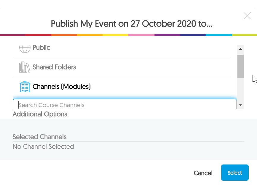 Image of publish video options