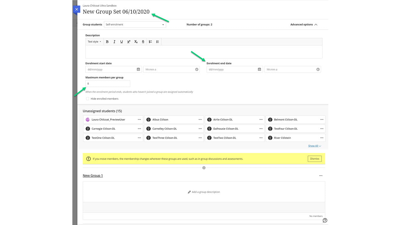 Screenshot of a selfenrol group set with arrows pointing to the title, enrolment end date, and maximum members per group